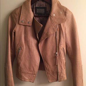 Mackage Kenya tan leather jacket from Aritzia